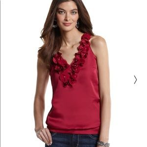 WHITE HOUSE BLACK MARKET Red Rosette Tank Small